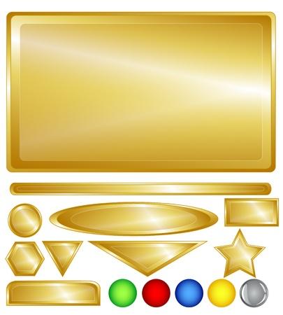 triangle button: De oro de color de fondo, barras de web, botones y formas de diversi�n rojo, greedn, azul, amarillo y uno botones grises brillantes de la variabilidad a�adi�.