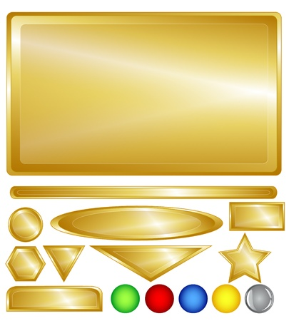 rectangle button: Gold color web background, bars, buttons and shapes with fun red, greedn, blue, yellow and one grey glossy buttons for added variability. Illustration