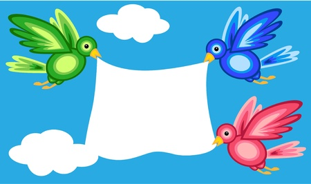board: Graphic shape colorful birds flying in blue sky with white clouds while holding a large white banner, perfect cute card. Illustration