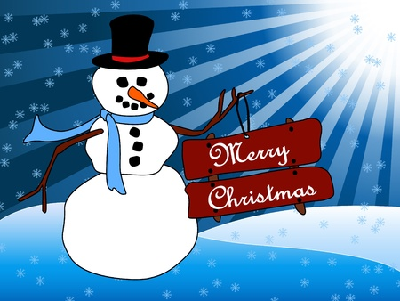 Beautiful Christmas card with a friendly cartoon snowman standing in the snow holding sign with Merry Christmas wish