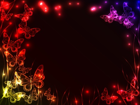 Beautiful plasma background with colorful flying butterflies, grass and burst of light with copy space. Ilustracja