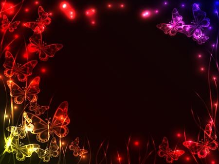 Fondo de plasma con colores hermosos mariposas volando, hierba y explosión de luz, con copia espacio. Foto de archivo - 10577309