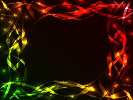 Great chaotic plasma frame with multiple colorful and shiny ribbons crossing each other over black with burst of lights, copy space in the center.