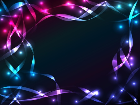 Great chaotic plasma background with multiple colorful and shiny ribbons crossing each other over black with burst of lights, copy space in the center.
