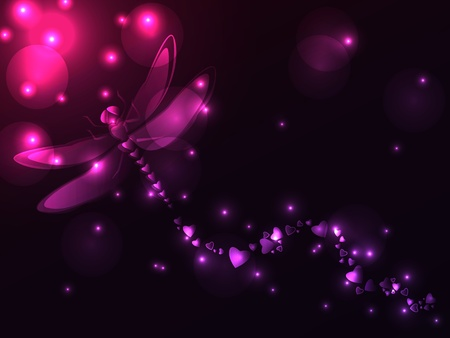 dragonfly: Great plasma dragonfly made of heart shapes in shades of pink and purple with burst of lights.