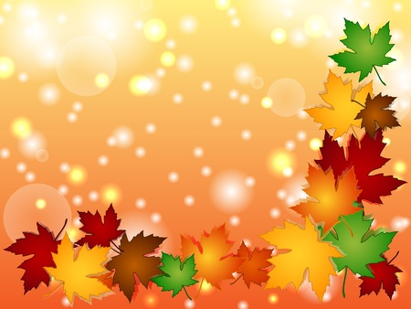 Maple leaves in a variety of autumn or fall colors with shadows forming a seasonal border over an orange background with multiple light effects, perfect for cards and the likes.