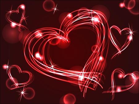 아름다운 손 재미 발렌타인 데이 또는 다른 사랑의 축하에 딱 맞는 서로 다른 빛의 효과, 교차 플라즈마 또는 네온 마음을 그려.