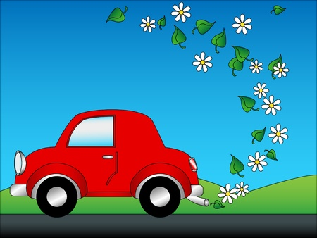 emissions: Eco friendly or green car concept cartoon with daisy flowers and leaves as emissions. Illustration