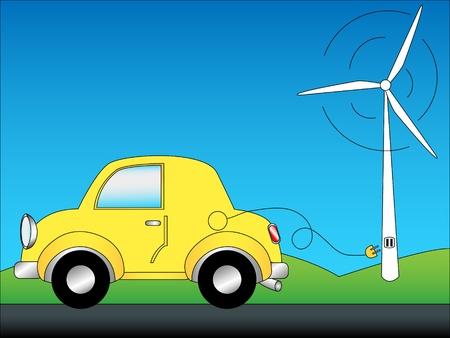 kracht: Eco-vriendelijke auto concept cartoon met schattige gele auto gewoon de stekker uit een groene energiebron, een windmolen, met kopie ruimte in de blauwe lucht.