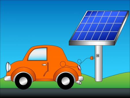 Eco friendly car concept cartoon with cute orange car just unplugged from a green energy source, solar panels, with copy space in the blue sky.