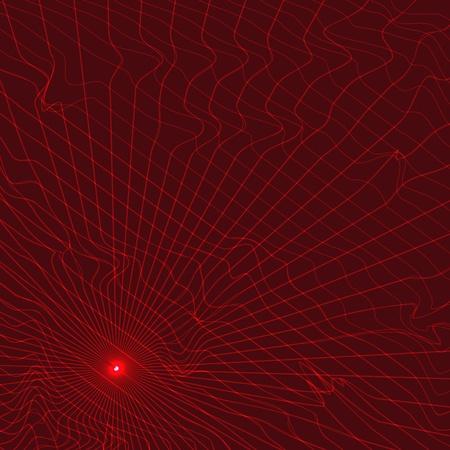 warp: Graphic warped infrared grid made of laser beams. Illustration