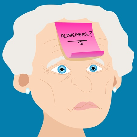 Memory loss or mental illness concept: cartoon of senior woman with sad face and pink sticky note with alzheimers and question mark handwritten placed on forehead
