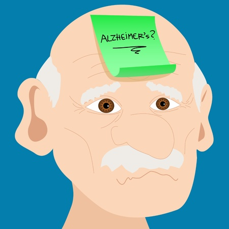 Memory loss or mental illness concept: cartoon of senior man with sad face and pink sticky note with alzheimer's and question mark handwritten placed on forehead