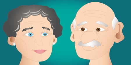Happy people in love: cartoon senior man and woman couple portrait looking at one another and smiling, perfect for anniversary card or the likes.