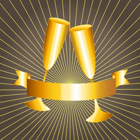 wedding anniversary: Golden celebration: gold cups and ribbon banner with sunburst over dark grey background, perfect 50th anniversary card.