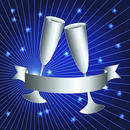 bodas de plata: Celebración de plata: copas de brindis y la bandera de la cinta con rayos de sol sobre fondo azul oscuro, tarjeta perfecta del 25 º aniversario.