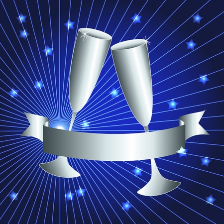 Silver celebration: toasting cups and ribbon banner with sunburst over dark blue background, perfect 25th anniversary card.