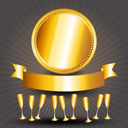 黄金の祭典: ゴールド カップと暗い灰色の背景上サンバーストとリボン バナー 50 周年記念カードを完璧な。