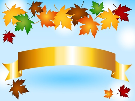Maple leaves in a variety of autumn or fall colors forming a seasonal border over a gold ribbon with copy space, sky background with light effects. Vector