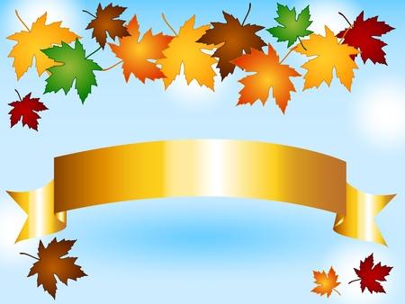 Ahornblätter in einer Vielzahl von Herbst oder Herbst Farben bilden eine saisonale Grenze über einem goldenen Band mit Kopie Raum, Himmel Hintergrund mit Lichteffekten.