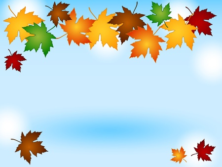 Maple leaves in a variety of autumn or fall colors forming a seasonal border over a blue sky background with light effects. photo