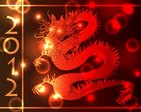 snake calendar: Plasma or neon glowing Chinese dragon with various light effects in shades of gold, orange and red, symbol of year 2012 in the Asian calendar. Illustration