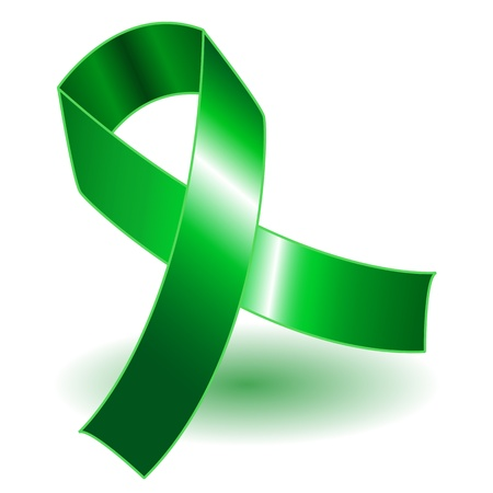 Green awareness ribbon over a white background with drop shadow, simple and effective.