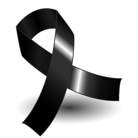 Black awareness ribbon over a white background with drop shadow, simple and effective. Ilustração