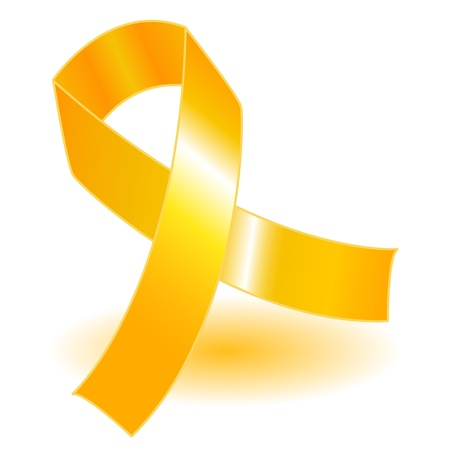 yellow ribbon: Yellow awareness ribbon over a white background with drop shadow, simple and effective. Illustration