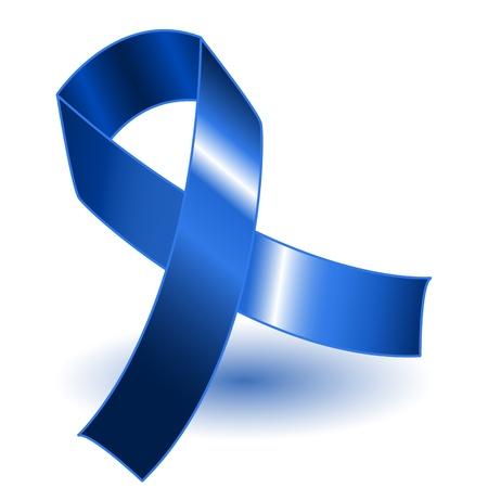 cancer symbol: Cinta oscura conciencia azul sobre un fondo blanco con sombra, simple y eficaz.