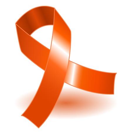 leucemia: Cinta naranja sobre un fondo blanco con sombra, simple y eficaz.