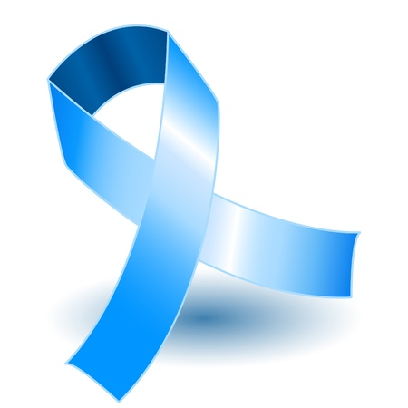 colon: Pale blue awareness ribbon over a white background with drop shadow, simple and effective.