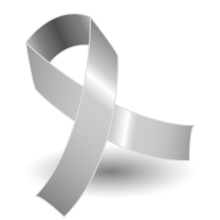 prata: Silver awareness ribbon over a white background with drop shadow, simple and effective.