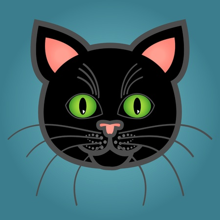 Cute and fun graphic cartoon black cat on blue background. Illustration