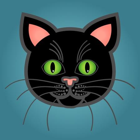 Cute and fun graphic cartoon black cat on blue background. Çizim