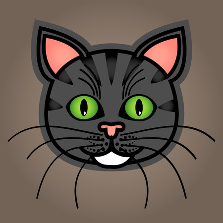 grey cat: Cute and fun graphic cartoon grey or blue tabby cat on brown background.