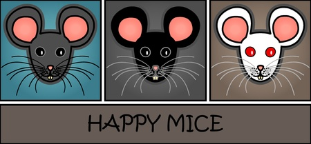 Mice paper header or web banner: Cute and fun graphic cartoon grey, black and white mice on blue, grey and brown background. Иллюстрация