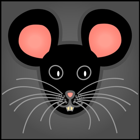 Cute and fun graphic cartoon black mouse on grey background. Vector