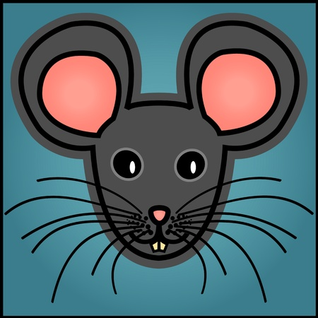 Cute and fun graphic cartoon grey mouse on blue background.