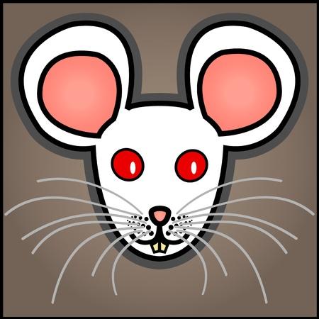 회색 갈색 배경에 귀엽고 재미있는 그래픽 만화 흰색 변종 마우스.