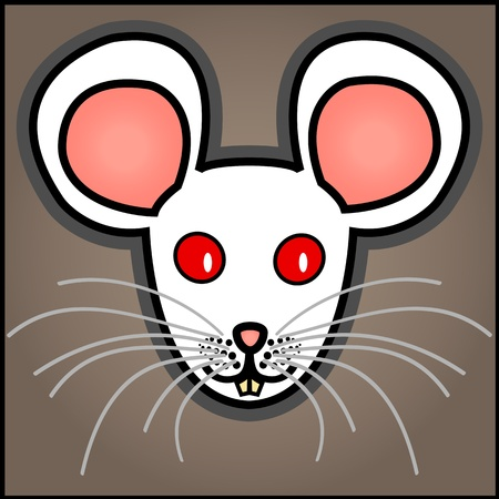 Cute and fun graphic cartoon white albino mouse on grey brown background.