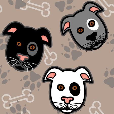 Naadloos patroon van leuke en leuke grafische cartoon honden, Boxer, terrier of pitbull stijl, met botten en pootafdrukken op beige bruine achtergrond.
