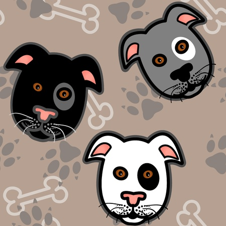 Seamless pattern of cute and fun graphic cartoon dogs, boxer, terrier or pit bull style, with bones and paw prints on beige brown background.