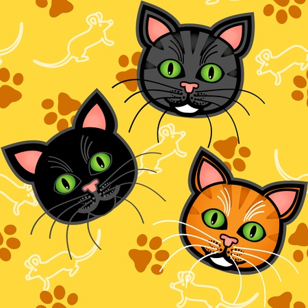 Seamless pattern of cute and fun graphic cartoon cats, with blue or grey and orange tabby and a black one, with mice and paw prints on yellow background. Vector