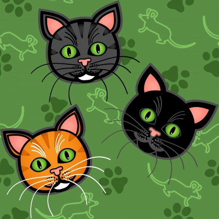grey cat: Seamless pattern of cute and fun graphic cartoon cats, with blue or grey and orange tabby and a black one, with mice and paw prints on green background. Illustration