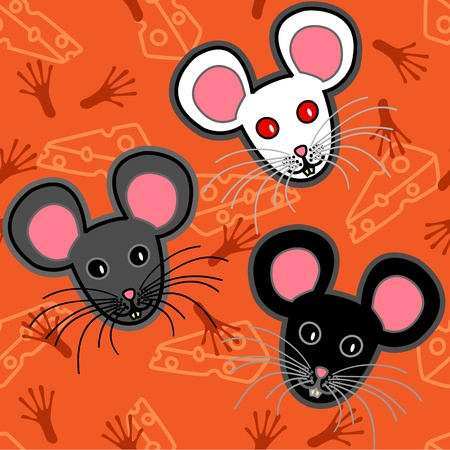 Seamless pattern of cute and fun graphic cartoon grey, black and white mice, with cheese and paw print or tracks over orange backgroun.