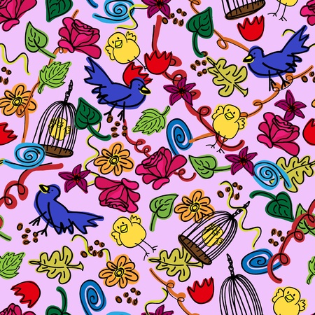 Seamless busy pattern of child like colorful doodles with birds, cage, flowers and leaves over pale purple background.