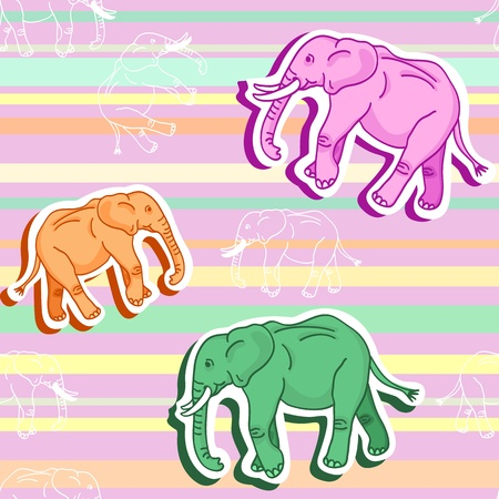 Beautiful seamless pattern of colorful cartoon elephants with shadows over stripes Vector