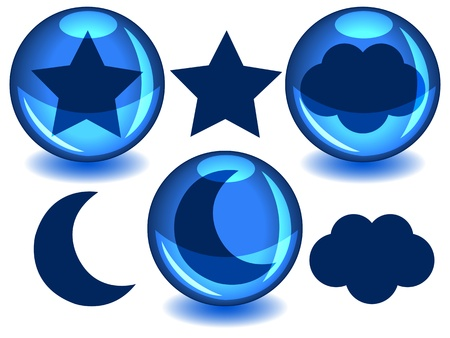 alone in the dark: Celestial bodies, moon, star, cloud, in dark blue silhouettes alone or inside a glossy blue sphere with drop shadow. Illustration