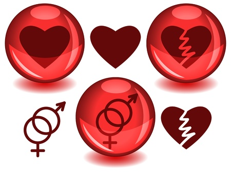 entwined: Love related symbols: heart, broken heart and entwined male female, in dark red silhouettes alone or inside a glossy red sphere with drop shadow.